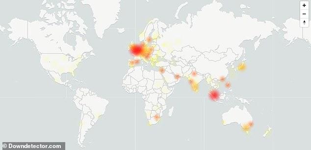 Sự cố của Google mail và Drive xảy ra trên khắp thế giới, tập trung ở châu Âu, châu Á và Úc.