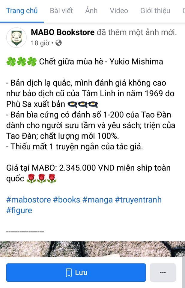 Đơn vị này cũng rao bán các bản sách bìa cứng của Tao Đàn, nhưng với giá đắt hơn gấp nhiều lần (giá bìa chính thức của Tao Đàn là 235.000đ/giảm giá còn 188.000đ)
