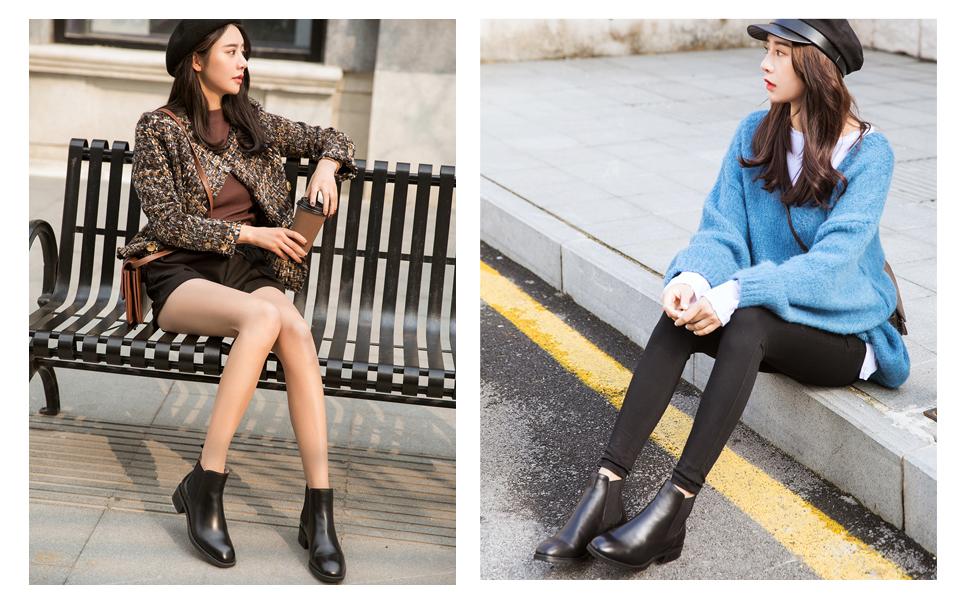 """Chelsea Boots: Mẫu giày này từng là phụ kiện giúp các quý ông tôn lên vẻ nam tính, mạnh mẽ. Tuy nhiên ngày nay, nhiều cô nàng theo đuổi phong cách cá tính cũng rất ưa chuộng xu hướng này. Vẻ trẻ trung và năng động của Chelsea Boots kết hợp cùng sự phóng khoáng, phong trần của áo khoác biker và quần jeans sẽ mang lại dáng vẻ của một """"rocker"""" hoàn hảo cho bạn."""