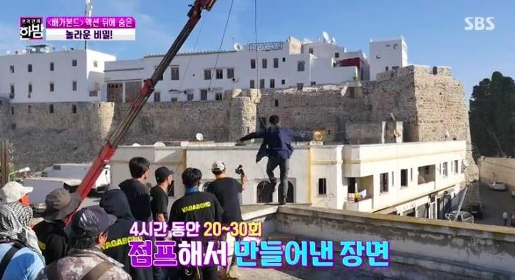 Nam diễn viên tự mình thực hiện cảnh quay nhảy khỏi nóc một tòa nhà.