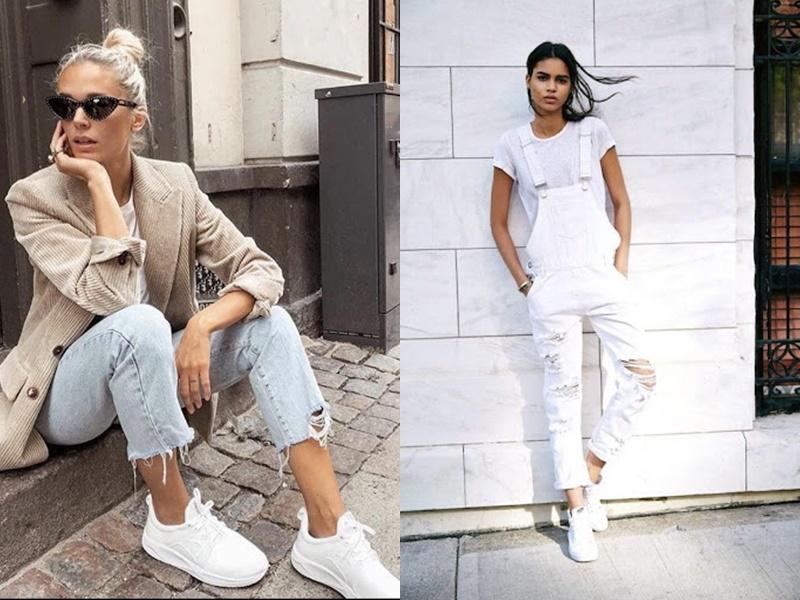 Giày sneaker trắng: Có thể nói đây chính là kiểu giày gần như không bao giờ hết độ hot trong nhiều năm qua.