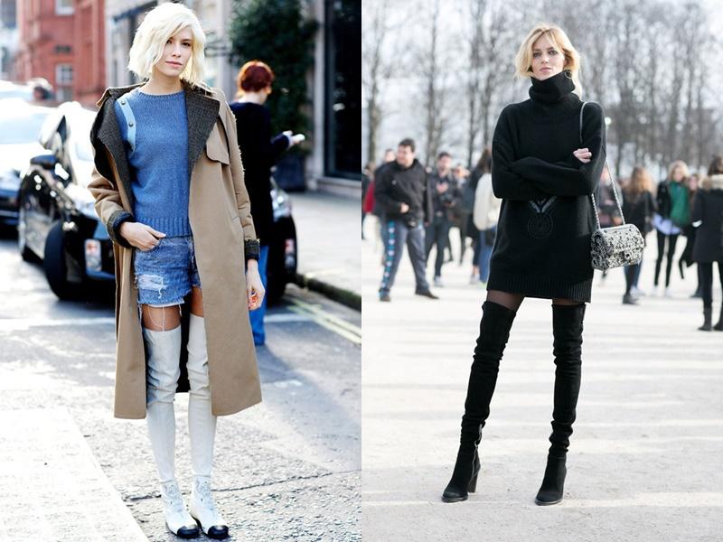 Boots cao quá gối thực sự không hề kén dáng như nhiều người vẫn nghĩ. Nếu bạn có chiều cao khiêm tốn thì nên kết hợp mẫu boots này cùng quần short hay váy ngắn diện theo phong cách ''giấu quần'' vừa gợi cảm vừa ''ăn gian'' được chiều cao.bạn