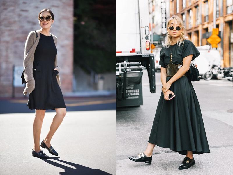 Giày loafer đế bệt hoặc gót kitten, chất liệu da chạm nổi hoặc có móc cài kim loại