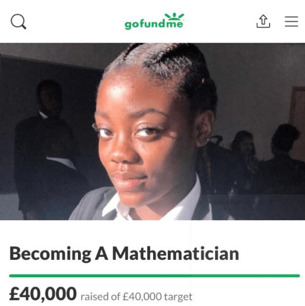 Bài đăng của Vitoria Mario để xin tài trợ cho ước mơ trở thành nhà toán học.