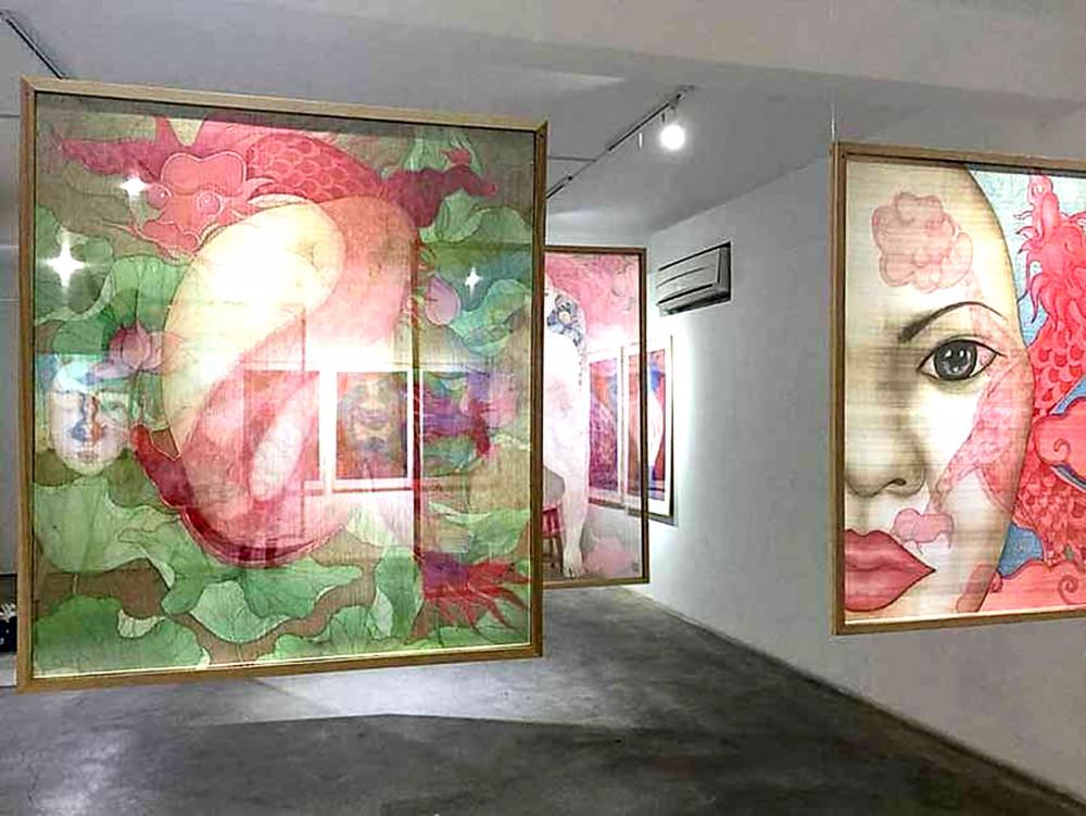 Chuỗi tranh lụa Bên trong tôi của Nguyễn Thị Châu Giang