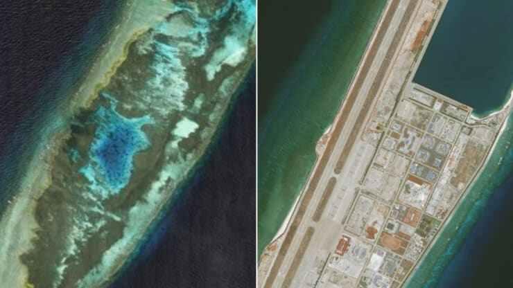 Hình ảnh Đá Chữ Thập thuộc Trường Sa vào năm 2006 (trái) và năm 2020 (phải) sau khi Trung Quốc xây dựng căn cứ