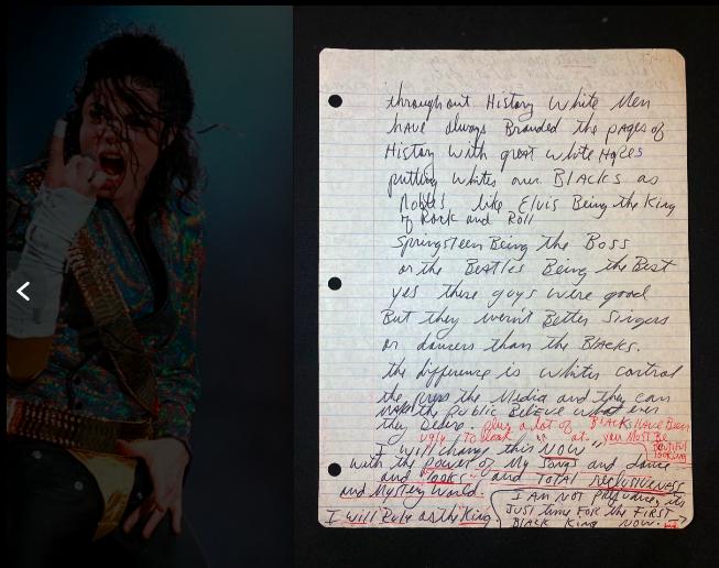 Một phần hình ảnh lá thư do Michael Jackson viết năm 1987.