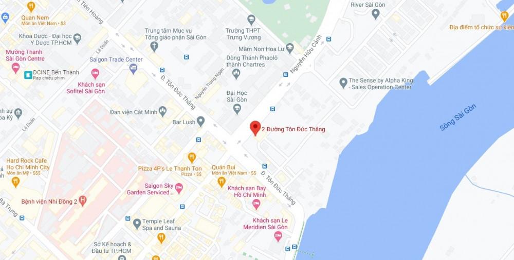Khu đất di tích lịch sử quốc gia Địa điểm lưu niệm Chủ tịch Tôn Đức Thắng tại khu vực Ba Son (số 2 Tôn Đức Thắng, Q.1) trên bản đồ Googlemap. Ảnh: Quốc Ngọc