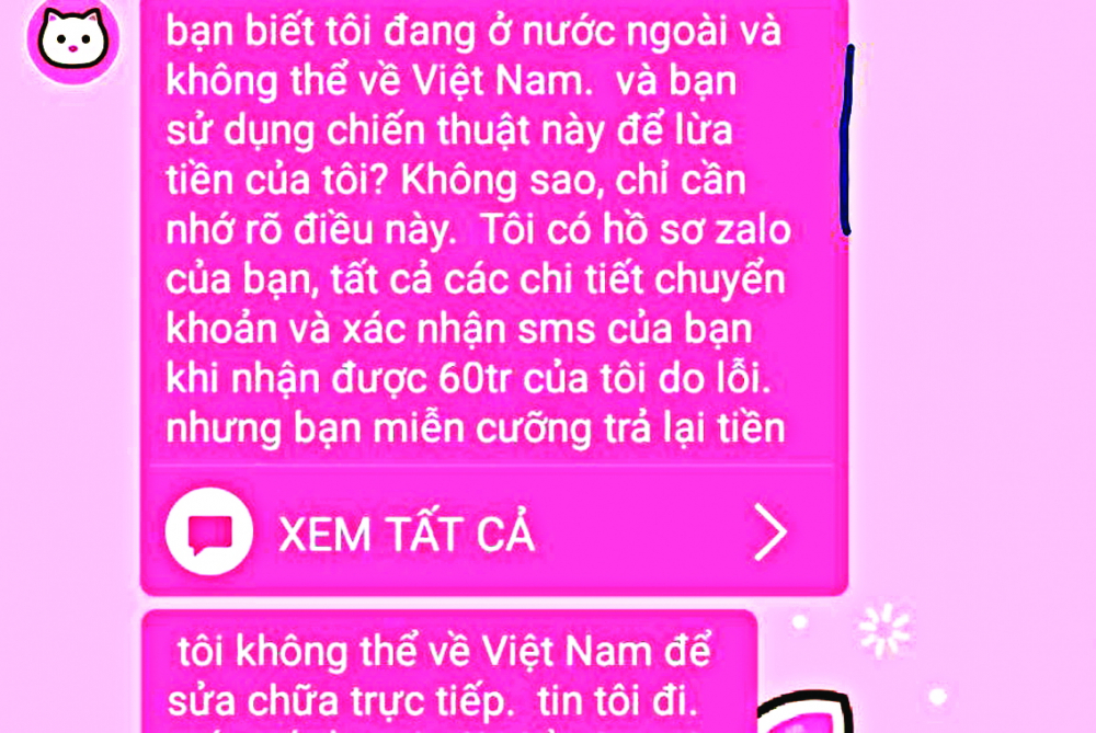 Chị T. bỗng dưng nhận được tiền và có nhiều người nước ngoài nhắn tin đòi tiền với lời lẽ đe dọa
