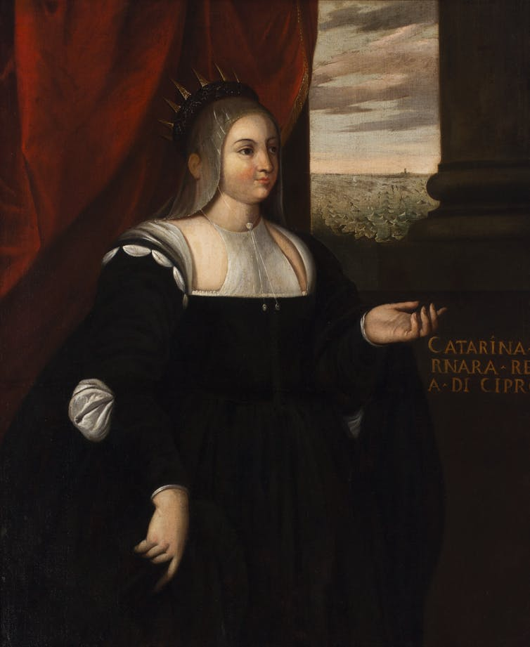 Tranh sơn dầu Nữ hoàng Caterina Cornaro (tác giả khuyết danh) - Ảnh tư liệu của Đại học Sydney [UA1865.9]