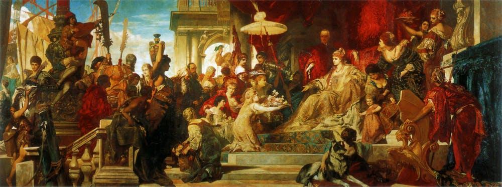Tranh sơn dầu mô tả một buổi chầu với sự hiện diện của nữ hoàng Caterina  gia đoạn 1872-1873 Ảnh: Wikimedia Commons