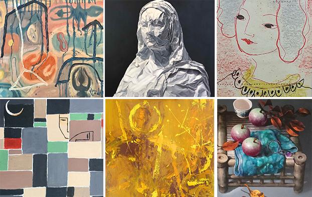 6 trong nhiều bức tranh sẽ được triển lãm online tại triển lãm Xuôi dòng sông Thu.