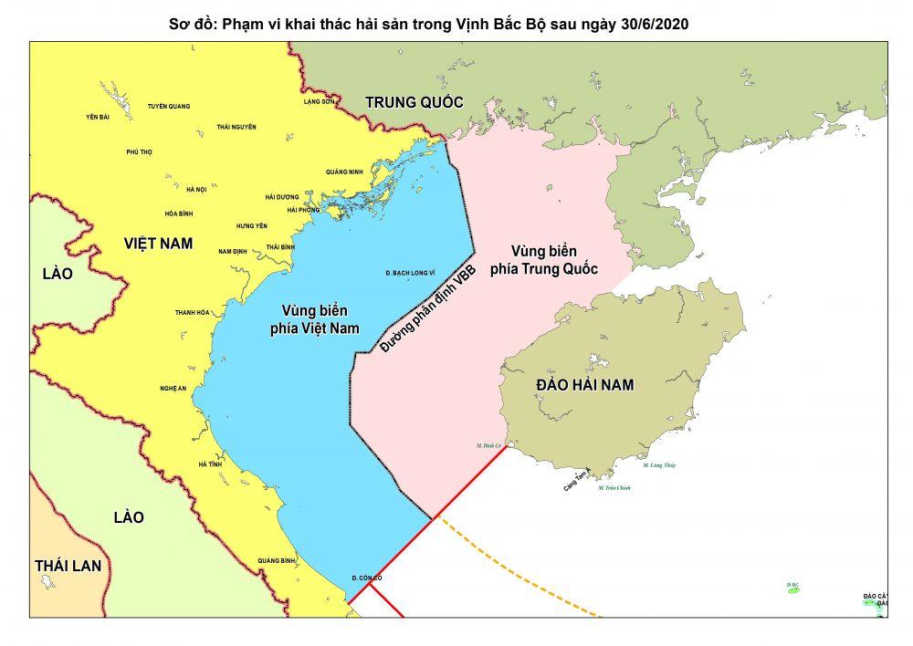 Sơ đồ phạm vi khai thác hải sản trong Vịnh Bắc Bộ sau ngày 30/06/2020