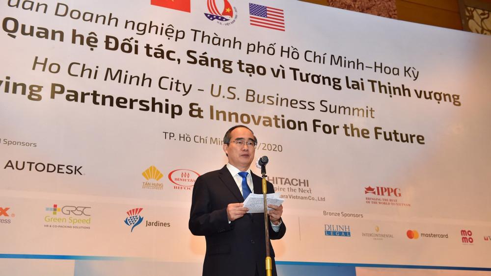 Bí thư Thành ủy TPHCM Nguyễn Thiện Nhân tại diễn đàn - Ảnh: Việt Dũng/ SGGP