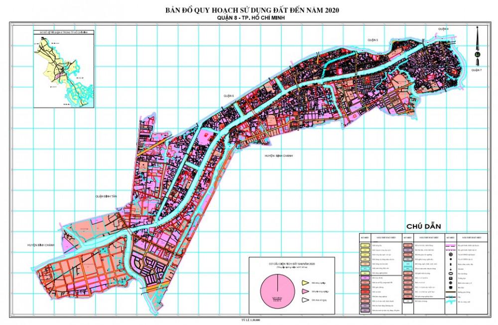 Bản đồ quy hoạch sử dụng đất đến năm 2020 của Q.8, TPHCM. Ảnh: UBND Q.8