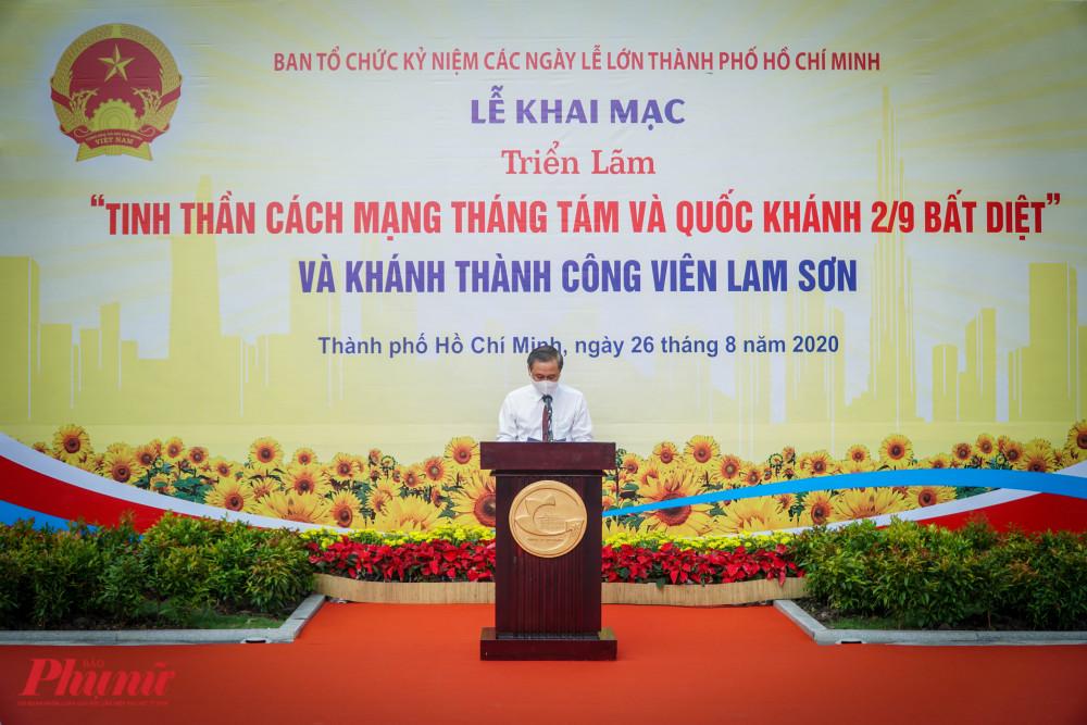 Ông Huỳnh Thanh Nhân - Giám đốc Sở Văn hóa và Thể thao TPHCM phát bieur khai mạc