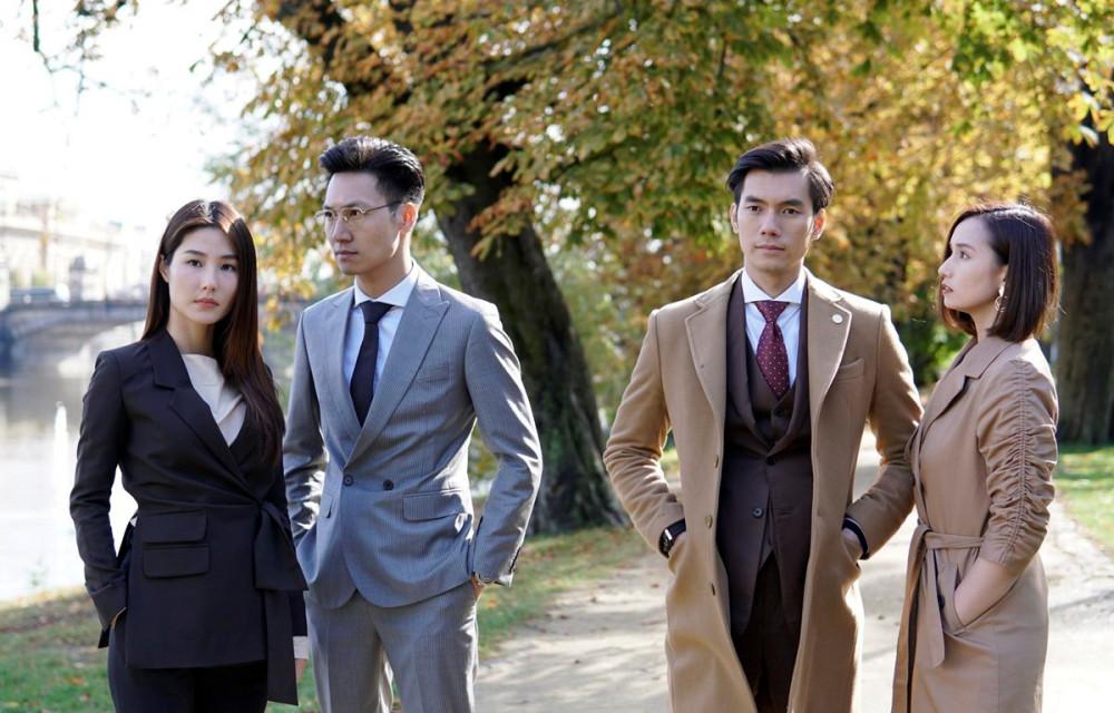 Diễm My, Mạnh Trường, Nhan Phúc Vinh và Lã Thanh Huyền trong phim Tình yêu và tham vọng.