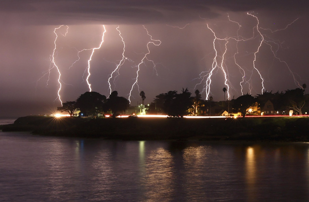 lightning storm crackles over Mitchell's Cove in Santa Cruz around 3 a.m. Sunday. Photo by Shmuel Thaler, The Santa Cruz Sentinel via AP