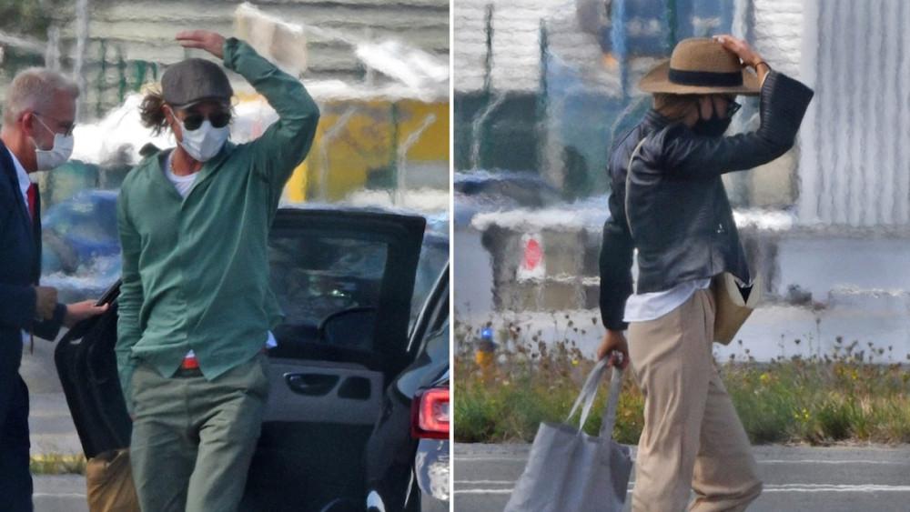 Brad Pitt và người mẫu Nicole Poturalski tại sân bay.
