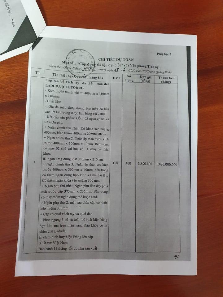 Chi tiết dự toán mua sắm cặp đựng tài liệu đại biểu
