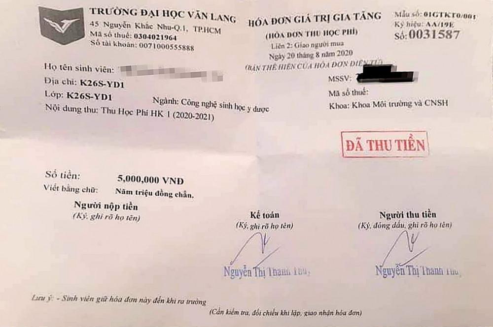 Hóa đơn đóng 5 triệu đồng để xác nhận nhập học vào Trường đại học Văn Lang