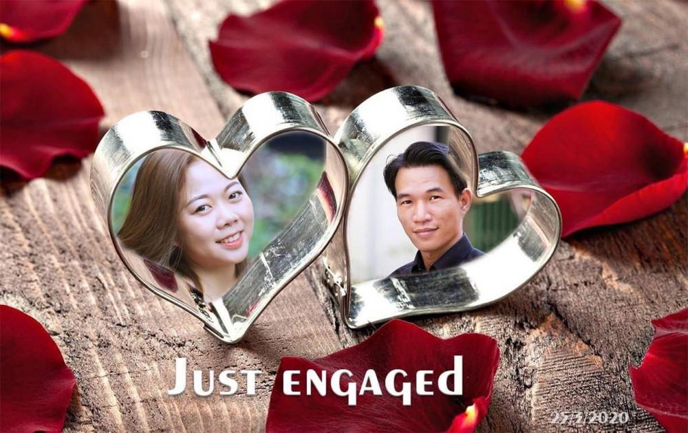 Tấm ảnh được tác giả thiết kế để thông báo với bạn bè trên Facebook về lễ đính hôn của mình
