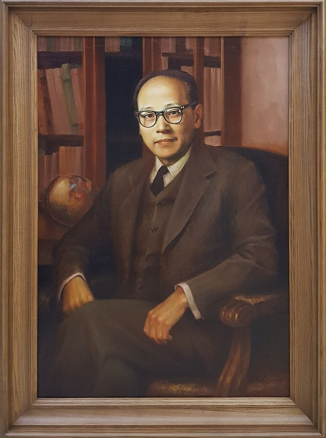 Chân dung cố Bộ trưởng Ngoại giao Hoàng Minh Giám được Lê Thấ Anh vẽ lại.