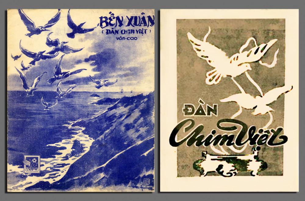 Hai bìa bản nhạc Bến xuân (Nhà xuất bản Tinh Hoa - 1952) và Đàn chim Việt (Nhà xuất bản Nhà Nhạc Vàng - 1946) của Văn Cao