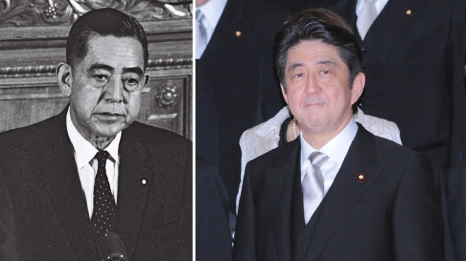 Shinzo Abe (bên phải), đã là thủ tướng Nhật Bản trong 2.8886 ngày liên tiếp tính đến ngày 28/8/2020. Chú ruột của ông Abe là Eisaku Sato (bên trái) cũng có thời gian phục vụ lâu dài trên cương vị Thủ tướng Nhật Bản - Ảnh: Nikkei