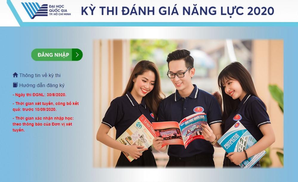 Thông tin về kỳ thi trên trang web của Đại học Quốc gia TPHCM. Ảnh: Quốc Ngọc