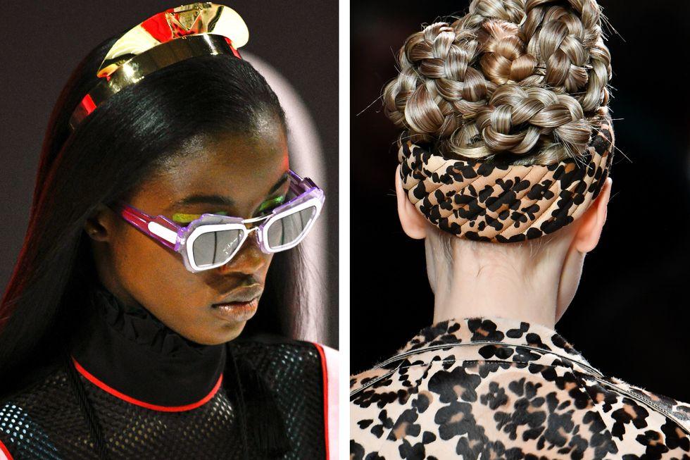 Băng đô lạ mắt Tạo kiểu tóc chắc chắn là ưu tiên hàng đầu trên sàn diễn mùa này. Từ những chiếc vương miện tương lai ở Prada ( trái ) và phong cách lộn ngược ở Fendi ( phải ), điều này đưa chiếc băng đô lên một tầm cao mới, theo đúng nghĩa đen. Mặc dù một chiếc băng đô lấy cảm hứng từ Blair Waldorf luôn tuyệt vời, nhưng hãy chọn một thứ gì đó ấn tượng hơn vào mùa thu này.