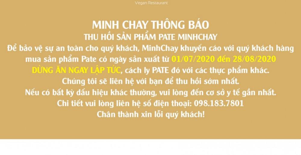 Thông báo thu hồi sản phẩm của Minh Chay đăng tải trên website