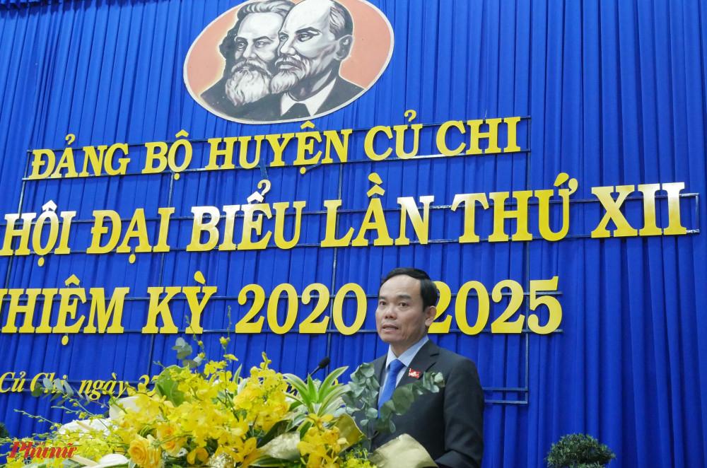 Phó Bí thư Thường trực Thành ủy TPHCM Trần Lưu Quang phát biểu tại Đại hội