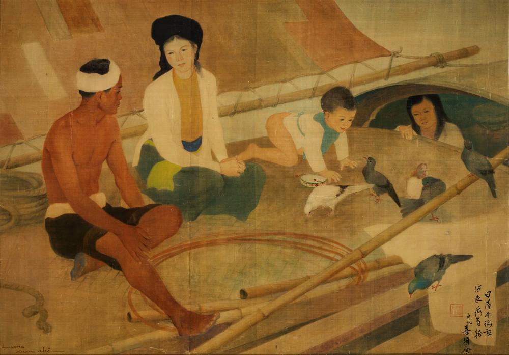 Tác phẩm Gia đình ngư dân (mực và gouache trên lụa, 67cm x 110cm, 1940) của Lương Xuân Nhị bán gần 605.000 USD tại Christie's Hong Kong ngày 26/5/2019