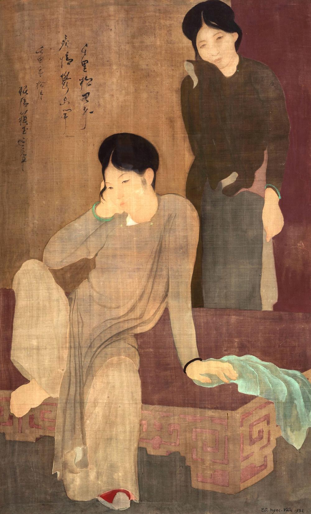 Dù nổi danh với sơn dầu, nhưng bức lụa Vỡ mộng (92,5cm x 57cm, 1932) mới là cao giá nhất của Tô Ngọc Vân. Tại phiên đấu giá của nhà Christie's Hong Kong ngày 26/5/2019, bức này đã bán tương đương hơn 1,1 triệu USD, thuộc Top 5 tranh có giá công khai cao nhất của Việt Nam