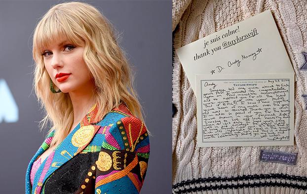 Ca sĩ Taylor Swift kèm lá thư tay và chiếc áo len tặng người hâm mộ.
