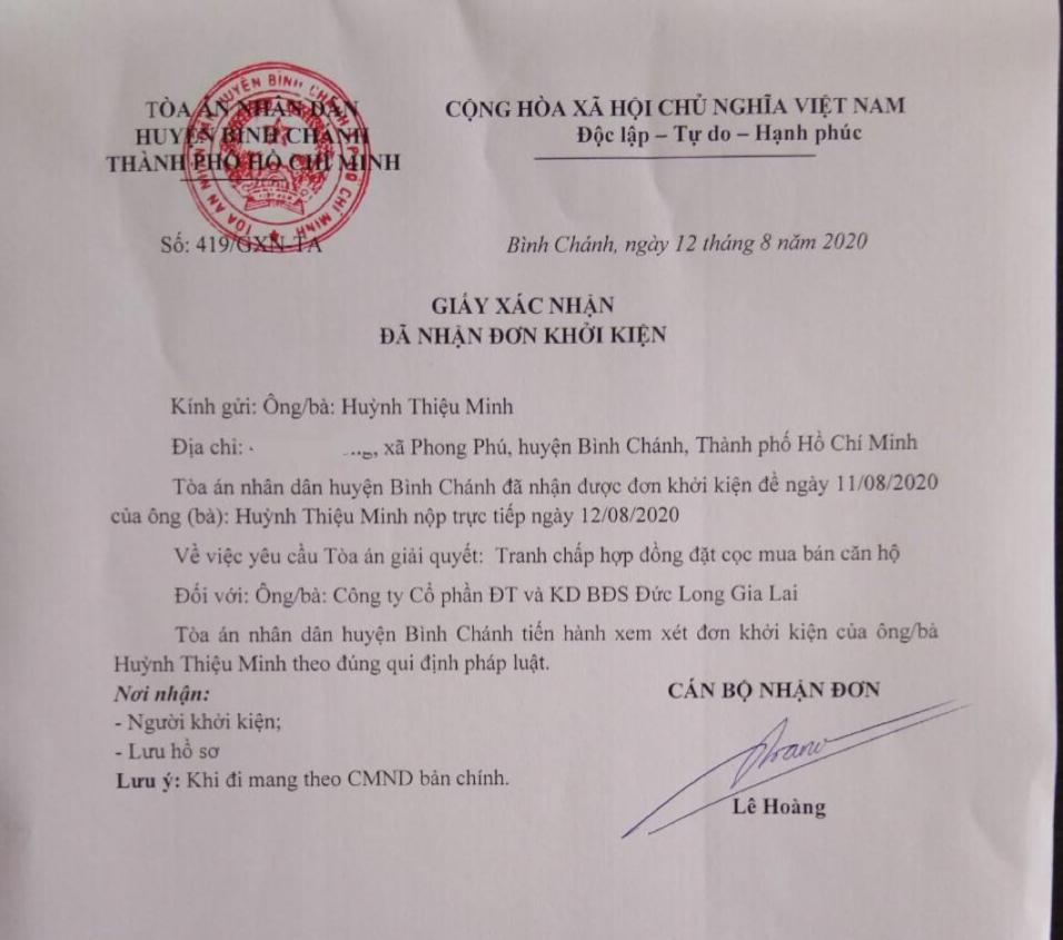 Toà án Nhân dân huyện Bình Chánh đã xác nhận đơn khởi kiện của khách hàng