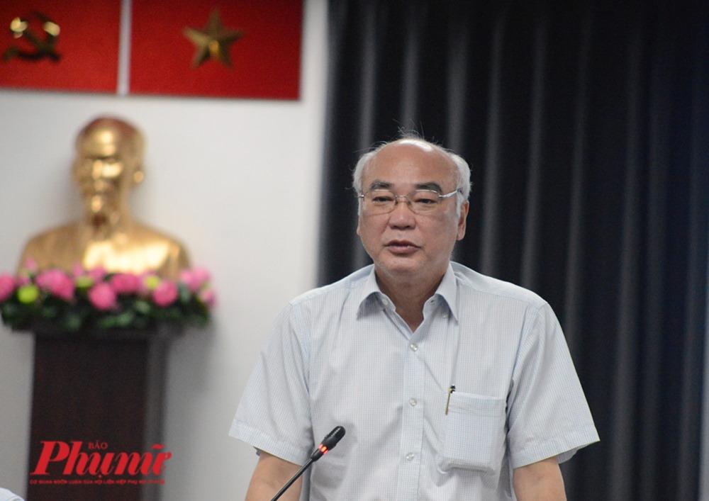 Ông Phan Nguyễn Như Khuê Phó trưởng đoàn chuyên trách Đại biểu Quốc hội TPHCM khóa XIV, Trưởng Ban Tuyên giáo Thành ủy TPHCMphát biểu tại cuộc họp báo
