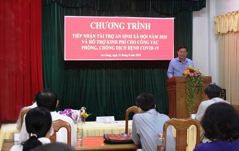 Đại diện Ủy ban MTTQVN tỉnh An Giang - phát biểu tại buổi lễ. Ảnh: Agribank cung cấp