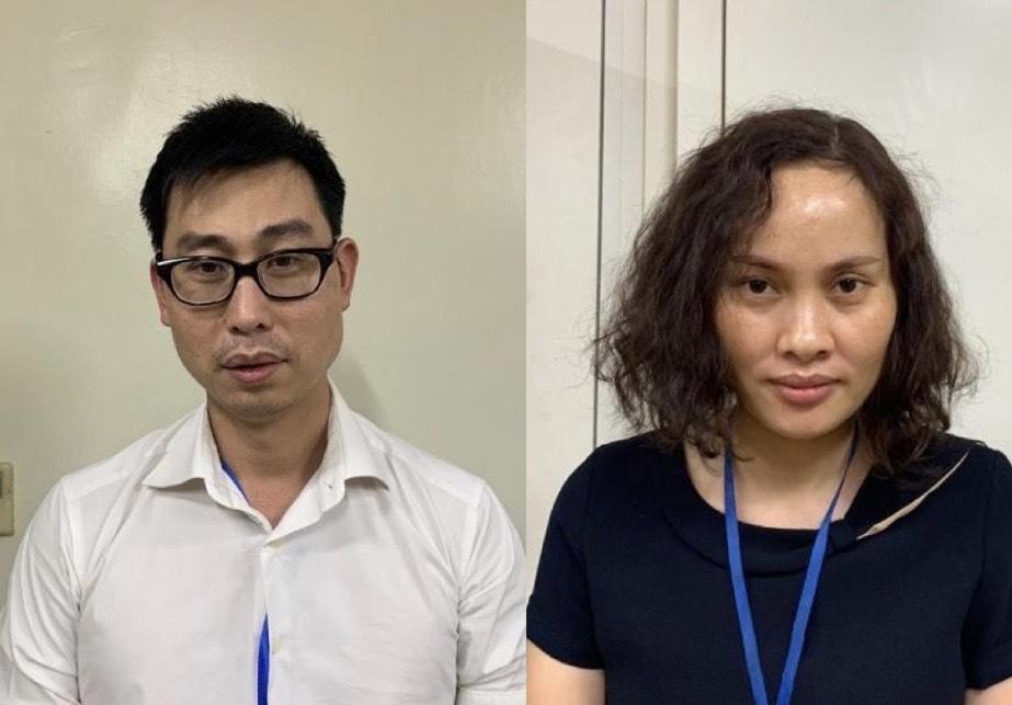 Bị can Phạm Đức Tuấ và Ngô Thị Thu Huyền.
