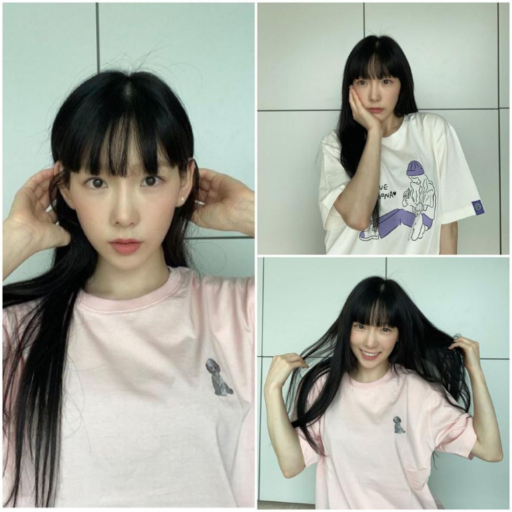 Cô nàng Taeyeon trở lại với màu tóc đen chuẩn phương Đông. Trong lần thay đổi hình ảnh này, nữ ca sĩ lựa chọn kiểu tóc mái truyện tranh thay cho mẫu tóc thưa, rẽ ngôi giữa ban đầu. Cô cắt tóc mái khá dày, cẩn thận chăm chút cho phần tóc có độ mượt mà kết hợp với lối trang điểm nhẹ nhàng giúp Taeyeon trở nên quyến rũ và quyền lực trong mắt người đối diện.