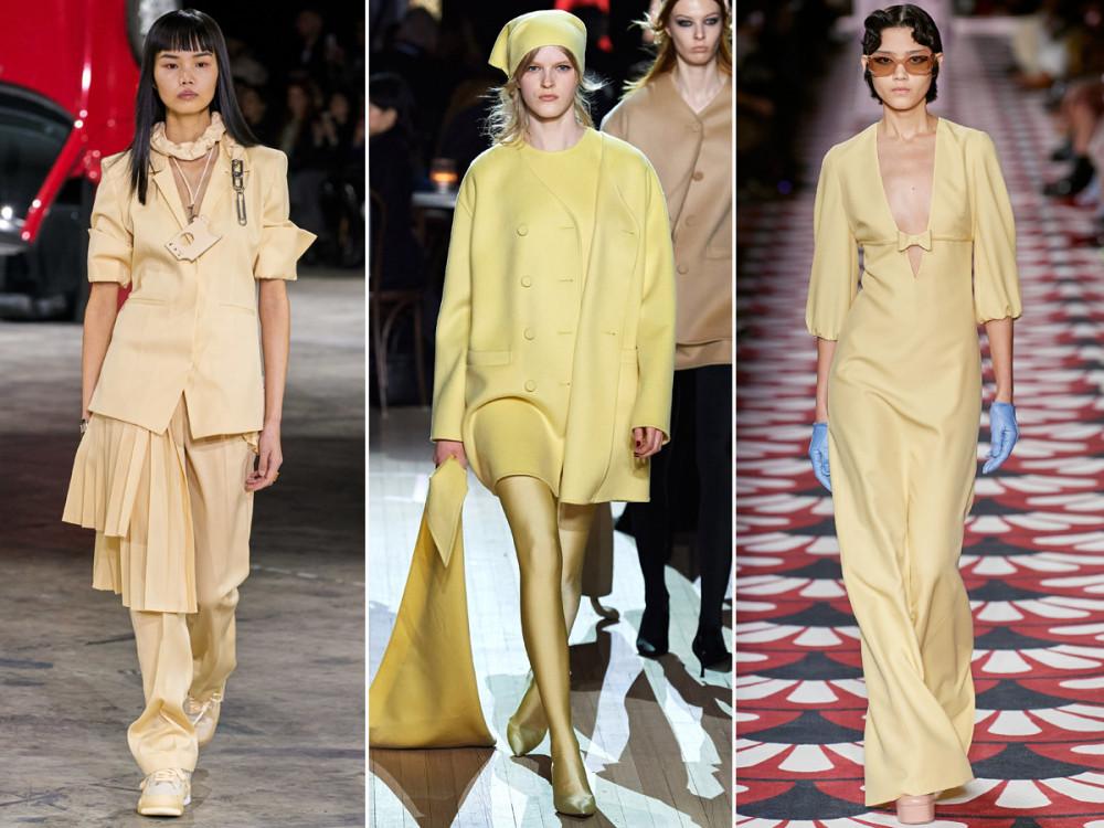 Màu vàng nhat: huộc nhóm màu pastel dịu mát, vàng nhạt thích hợp để bạn làm mới phong cách công sở. Đừng quên kết hợp Một số phụ kiện như vòng cổ, kính mát, tất chân và giày cao gót vàng nhạt là gợi ý làm mới bộ trang phục mùa lạnh