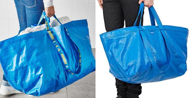 Thoạt nhìn, nhiều người khó phân biệt được chiếc túi trị giá hơn 50 triệu đồng (bên phải) của Balenciaga và chiếc túi nhựa chỉ 22.000 đồng của IKEA vì trông rất giống nhau.