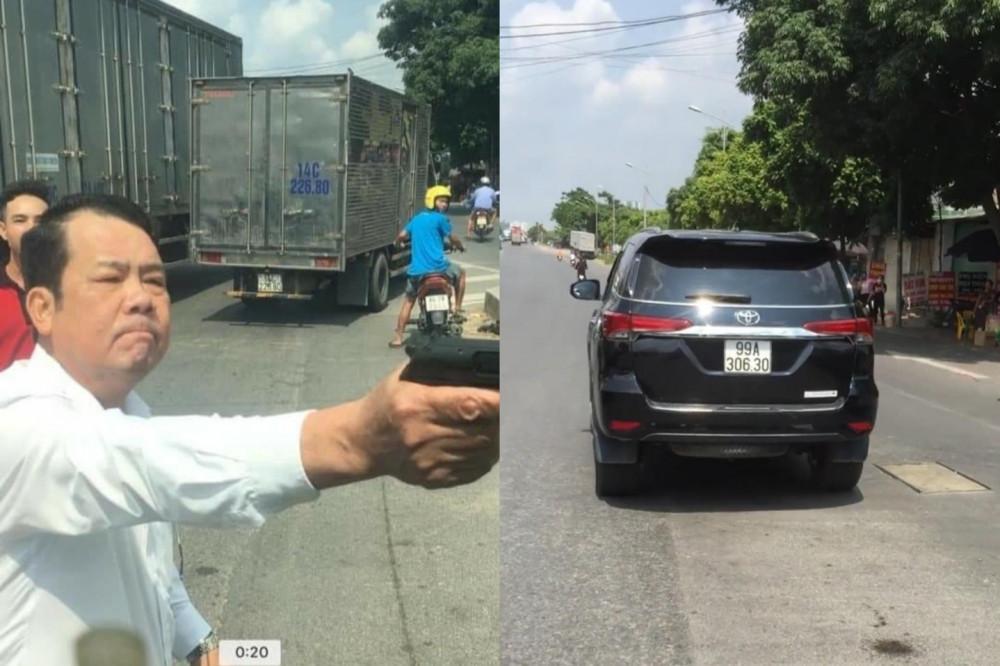 Hình ảnh đối tượng dùng súng dọa một lái xe cùng chiều.
