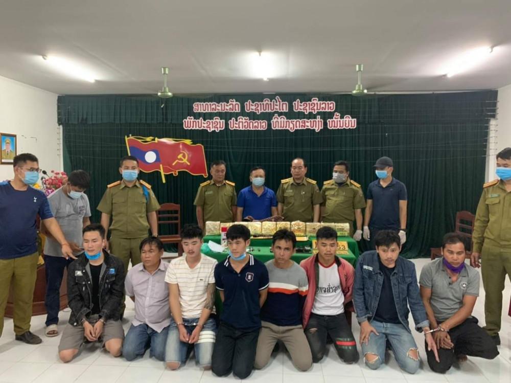 8 đối tượng quốc tịch Lào vận chuyển 10kg ma túy, Ảnh: BĐBP Quảng Trị
