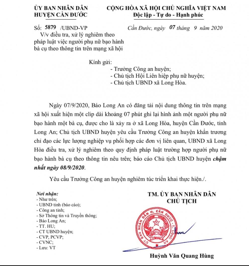 Văn bản chỉ đạo giải quyết vụ việc của UBND huyện Cần Đước