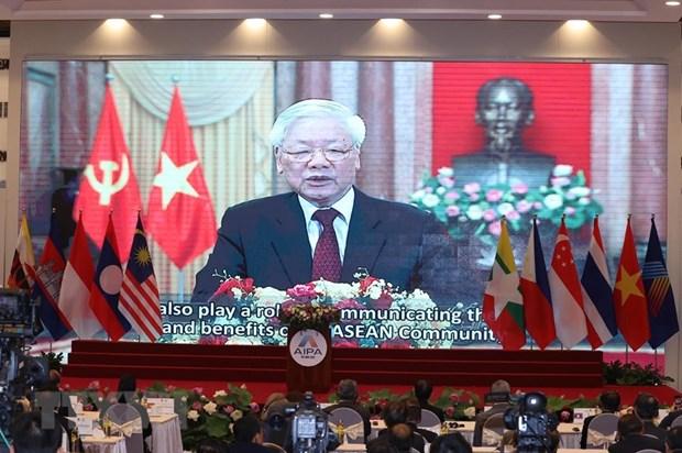 Tổng bí thư, Chủ tịch nước Nguyễn Phú Trọng phát biểu chào mừng trực tuyến đến đại hội - Ảnh: TTXVN