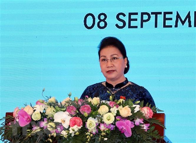 Chủ tịch Quốc hội Nguyễn Thị Kim Ngân, Chủ tịch AIPA- 41, phát biểu khai mạc. (Ảnh: Trọng Đức/TTXVN)