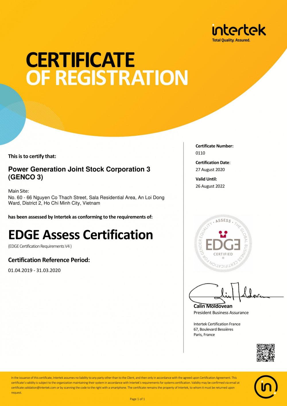 EVNGENCO 3 đạt được Chứng chỉ EDGE do tổ chức  EDGE Certified Foindation (Thụy Sỹ) cấp