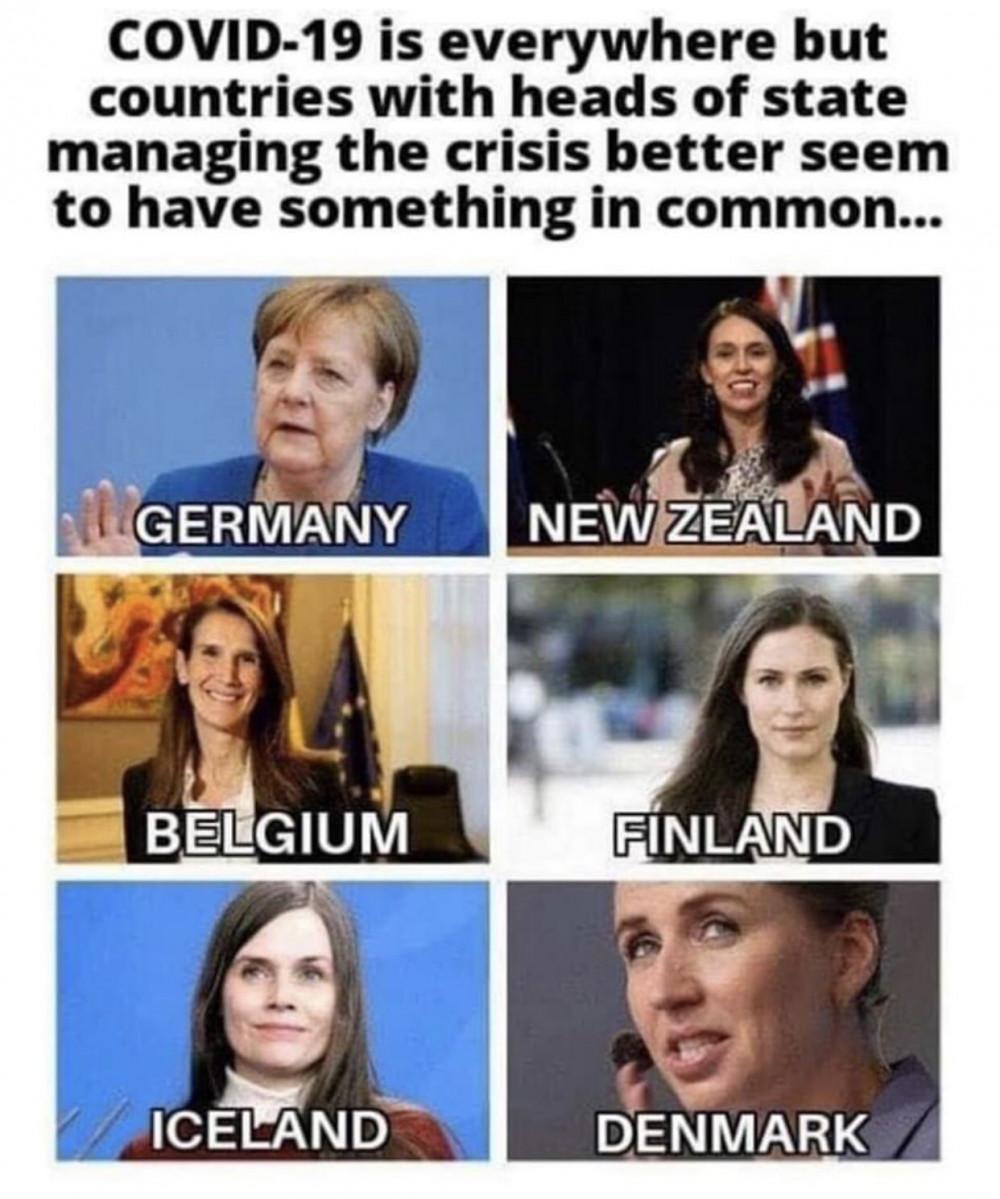 Những hình ảnh theo trào lưu meme về các hình mẫu nữ lãnh đạo thành công trong xử lý coronavirus được lan truyền khắp mạng xã hội - Ảnh: Twitter